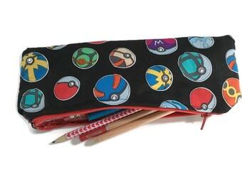 Pencil case, pencil pouch, pokemon pencil pouch, pokemon go pencil case, pokemon school supply, zipper pouch, pokemon pouch, back to school