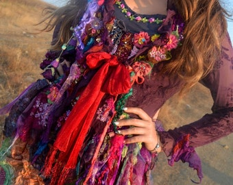 Gypsy Bohemian romantic altered couture  transparent silk Art To Wear floaty jacket gypsy mori girl