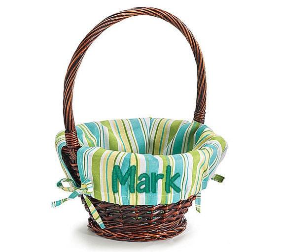 Monogrammed Easter Basket Liner Personalized Easter Basket