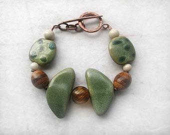 Green Brown Kazuri Bracelet, Chunky Bracelet, Beaded Bracelet,