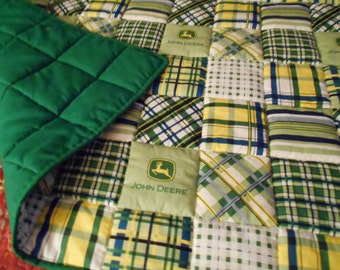 "Handmade Baby Quilt  Green Madras Plaid Patch  Toddler Bed or  Crib Size  Quilt Comforter  36 "" x  56 ''"