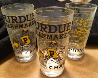 Set of 8 Purdue Boiler makers 1974 N.I.T. championship signed glasses. Excellent condition.