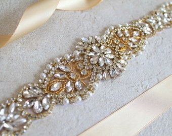 Gold Bridal Crystal, Pearl sash. Rhinestone Applique Wedding Belt. Bride Sash. CALLISTA
