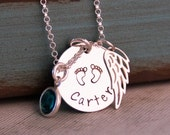 My Baby Angel (with footprints) / Personalized Necklace / Hand Stamped Mommy Necklace / Remembrance / Infant loss / Memorial Necklace