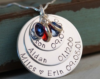 Hand Stamped Mommy Jewelry - Personalized Sterling Silver Big Family Layered Necklace - All of us