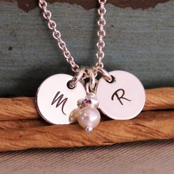 Small Dainty Initial Tags - Hand Stamped Necklace - Personalized Sterling Silver Jewelry - Petite Flat Initial Tag Duet
