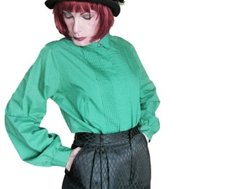 Plus Size Vintage - Green Blouse - Long Sleeve Shirt - 80s Judy Bond - St Patty's Day