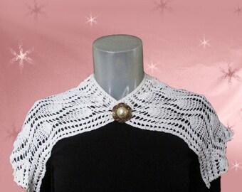 1920s Vintage White Collar - Big Crocheted Puritan Collar - 20s Crochet