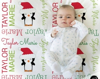 Christmas Name Blanket, Red and Green, personalized blanket, keepsake blanket, baby blanket, personalized blanket, choose colors