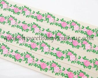 Vintage Floral Grosgrain Ribbon on Ivory