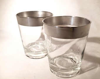 Pair of Dorothy Thorpe Silver Band Double Old Fashioned Glasses