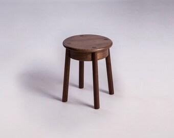 PO Short Stool in Walnut by Plywood Office