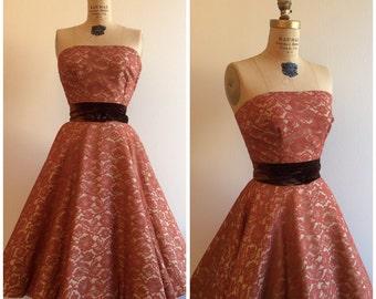 Vintage 1950's Saks Fifth Avenue Lace Top Skirt Dress Set 50's Wedding Party Dress