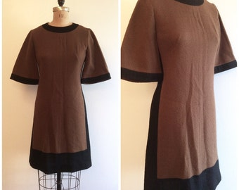 1960s Color Block Mod Scooter Dress 60s Alison Aryes Brown Black