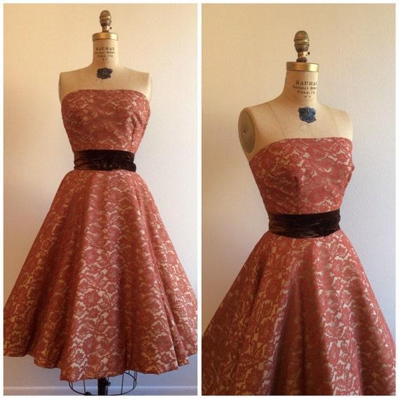 Saks Fifth Avenue Wedding Gowns: Vintage 1950's Saks Fifth Avenue Lace Top Skirt Dress Set