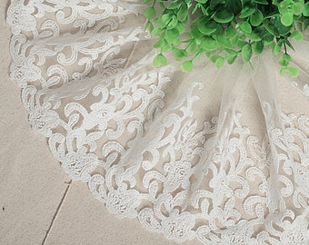 "5 yard 16cm 6.29"" wide ivory mesh tulle gauze fabric embroidered tapes lace trim ribbon 1148 free ship"