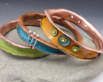 Organic Enameled Bangle Set of Three Turquoise Green and Golden Yellow Fun and Funky Handmade Jewelry Stacking Bangles Statement Jewellery