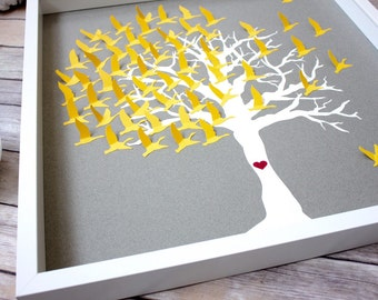 Wedding Tree guest book alternative, Modern guest book frame, Unique wedding guestbook alternative, Love Birds guestbook idea, 3D guestbook