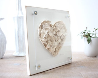 Wedding song frame, wedding gift Personalized 3d Framed Hearts / Made from a song, poem, or vows - Wedding Gift or Paper Anniversary Gift