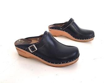 SWEDISH women's vintage BOHEMIAN clogs platform leather designer -- size 9