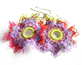 Artisan Lime Purple Ruffle Frilly Hoop Style Tatting Lace Dangle Earrings