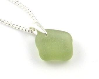 Pale Lime Green Sea Glass Pendant Necklace STARLA