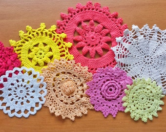 8 Colorful Hand Dyed Crochet Doilies, Small Craft Doilies in Red, White, Orange, Pink, and Yellow, Craft Doilies for Dream Catchers and More