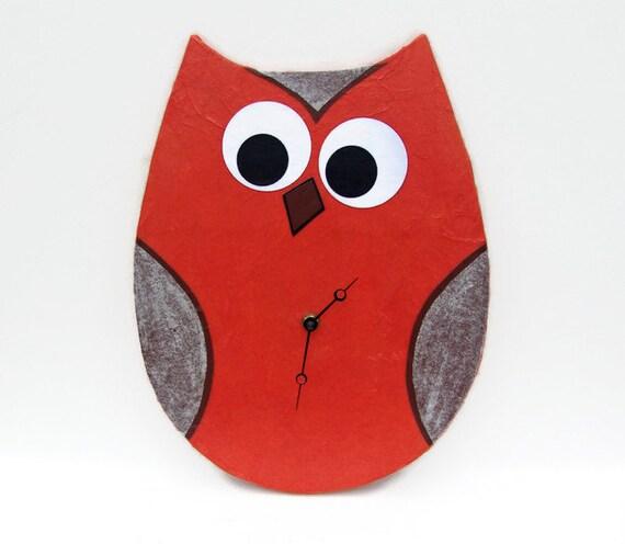Original Modern Abstract Orange Owl Art Clock