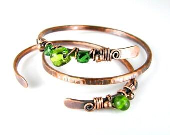 Copper & Green Beaded Bracelets, Wire Wrapped Bracelet Set, Antiqued Copper Wire Bracelets, BOHO Womens Bracelets
