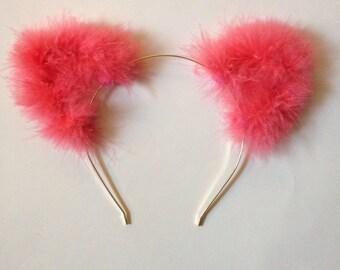 Fuzzy Pink Cat Ears