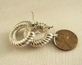 sterling silver Puffy Angle Cut hoop Earrings