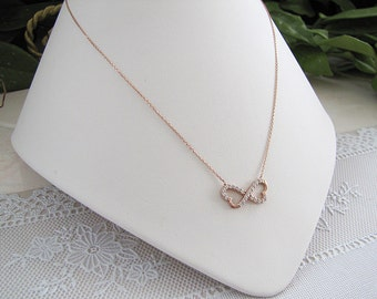 Infinity Double Heart CZ Sterling Silver Necklace, rose gold vermeil necklace