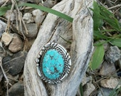 Kingman Spiderweb Turquoise Southwest Sterling Silver Ring Size 7 3/4
