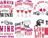 Wine quotes... awesome bottle bag embroidery mini designs, unique kit - machine embroidery designs - for hoop 4x4