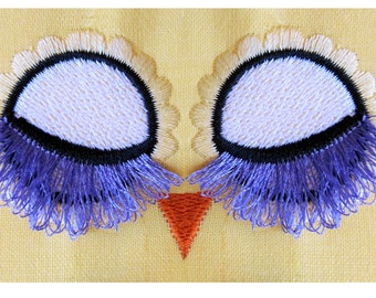 Fringed, fluffy, flare lashes Owl pretty closed eyes -  machine embroidery designs, multiple mini sizes, toy making design