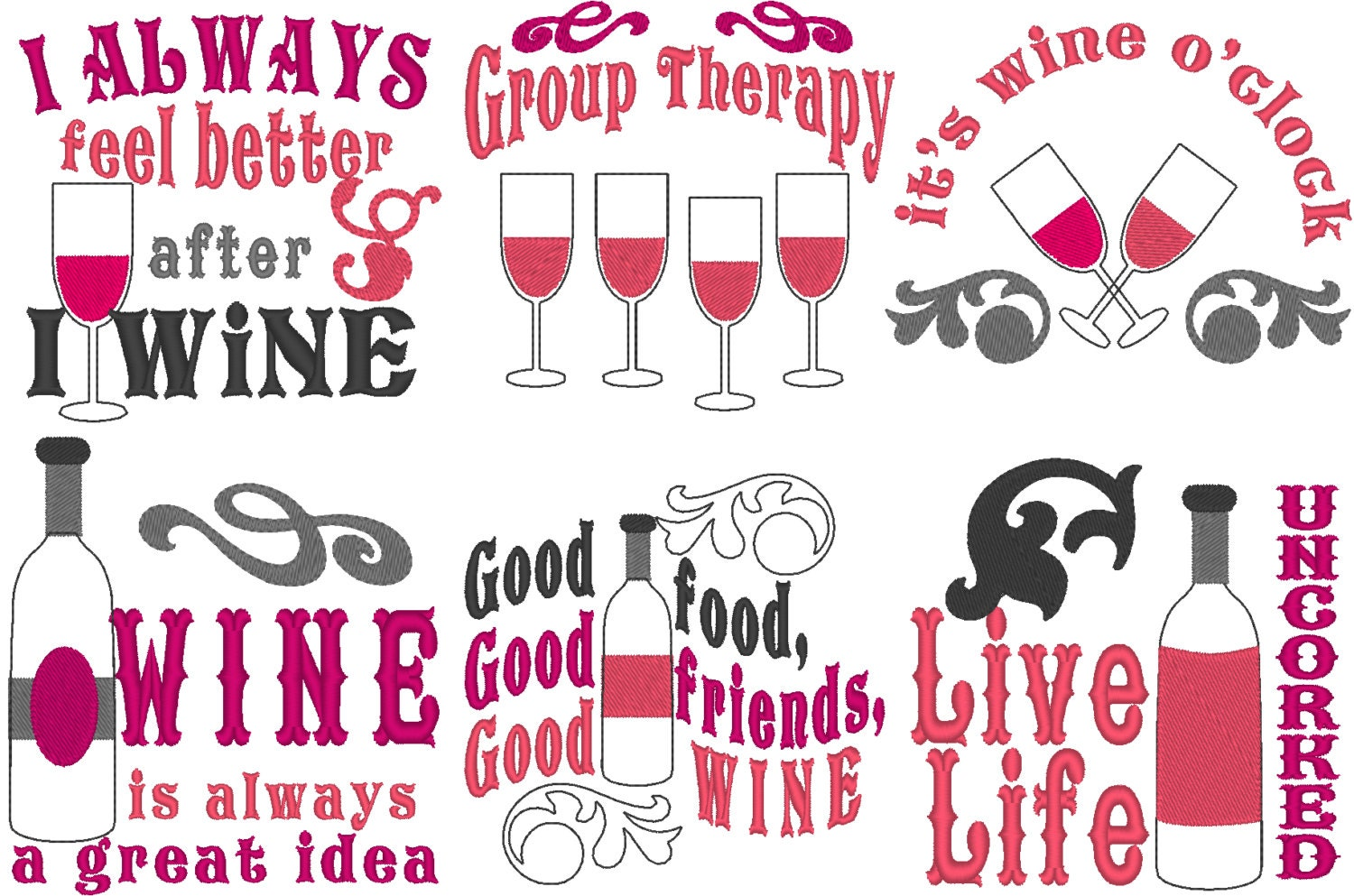 Wine quotes awesome bottle bag embroidery mini designs