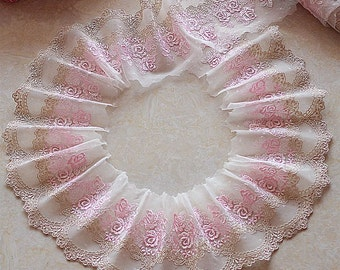 2 Yards Lace Trim Pink Roses Embroidered Tulle Lace 4.33 Inches Wide High Quality