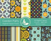 50% Off Garden Party Paper Pack - 10 printable Digital Scrapbooking papers - 12 x12 - 300 DPI