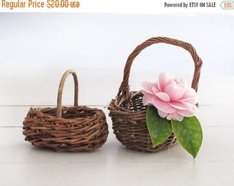 set of 2 mini Vintage French Woven Willow Wicker Basket , French vintage wicker  basket, doll house