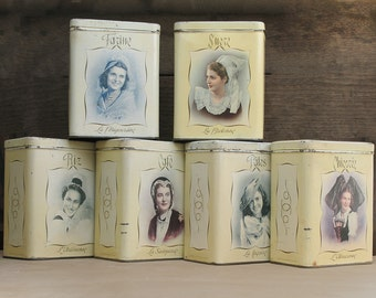 Completed set of French metal canisters set box kitchenware,french women portrait in traditional dress, metal tin storage boxes