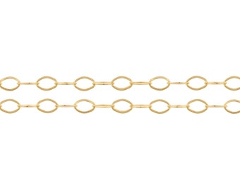 14kt Gold Filled 3.2 x 2.4mm Flat Cable Chain - 5ft (2350-5)
