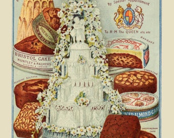 19th Century Antique Huntley & Palmers Cake Vintage Print Reproduction from Curious London