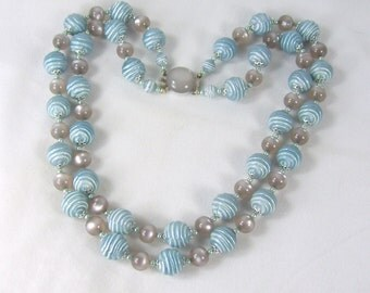 Vintage Bead Necklace Blue & Gray Moonglow Lucite Japan Wavy Ringed Beads
