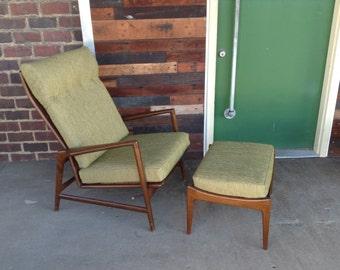 Kofod-Larsen Mid-Century Modern Reclining Lounge Chair and Ottoman