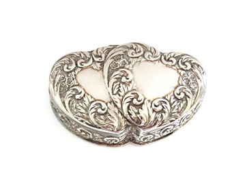 Vintage Silver Ring Box . vintage ring box . heart ring box . wedding ring box . ring bearer pillow alternative . double heart silver box
