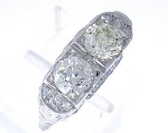 ENCHANTING Art Deco Diamond TWIN Ring in Platinum, 1.50ct TW, Circa 1910