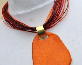 Ceramic necklace, gift,orange, red, clay