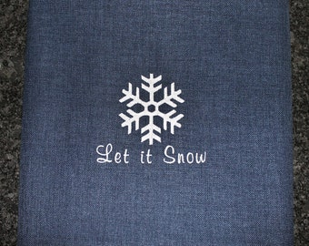 Snowflake Outdoor Pillow Cover in Indigo Blue