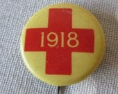 Vintage 1918 Red Cross Pin WWI World War I World War II World War 2 Collectible - Western Badge and Novelty Co
