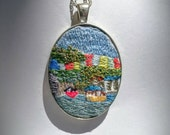 Bristol harbourside and Cliftonwood, hand-embroidered pendant